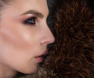 Chic portrait shot of a woman and natural fur Royalty Free Stock Photos