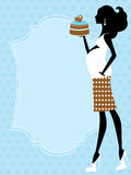 Chic pregnant  beauty holding a cake. A vector illustration of a chic pregnant  beauty holding a cake Stock Image