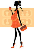 Chic pregnant woman buying perfumes royalty free illustration