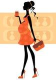 Chic pregnant woman buying perfumes Royalty Free Stock Photos
