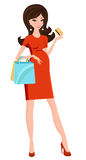 Chic pregnant woman shopping Stock Photography