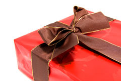 Chic red present with brown bow Stock Photography