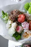 Chic rich bouquet of flowers, luxury decoration, skillful work of a florist royalty free stock photography