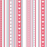 Chic seamless striped pattern with hearts. Endless texture for wallpaper, web page background, textile design, wrapping paper. Etc stock illustration