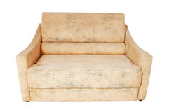 Chic sofa beige color on a white background Stock Image