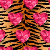 Chic vector seamless patterns tiling. Animal print, tiger texture. Polygonal hearts Stock Photo