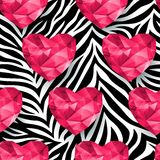 Chic vector seamless patterns tiling. Animal print, zebra texture. Polygonal hearts. Endless texture can be used for printing onto fabric and paper or scrap Royalty Free Stock Photography