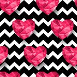 Chic vector seamless patterns tiling. Chevron print. Polygonal hearts Royalty Free Stock Photo