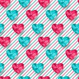 Chic vector seamless patterns tiling. Vector illustration. Striped colorful background with polygonal hearts Royalty Free Stock Photos