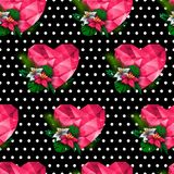 Chic vector seamless patterns tiling. Polka dots black background. Polygonal hearts and flowers. For printing onto fabric, paper or scrap booking. Valentines Stock Image