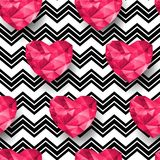 Chic vector seamless patterns tiling. Polygonal hearts Royalty Free Stock Image