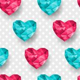 Chic vector seamless patterns tiling. Polygonal hearts Stock Images