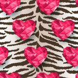 Chic vector seamless patterns tiling. Polygonal hearts royalty free illustration
