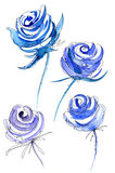Chic watercolor blue. Blue and lilac roses on a white background complemented by a spectacular black and clear graphics Royalty Free Stock Photography