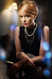 Chic woman in evening dress. ( Portrait in the interior Stock Image
