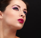 Chic woman face makeup. Long lashes and gloss lipstick. Closeup Stock Image