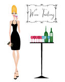 Chic Woman at a Wine Tasting vector illustration