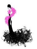 Chic Young Woman in a Black Evening Gown and Hot Pink. Fashion illustration of a beautiful woman in a black evening gown and Hot Pink Boa Stock Photography