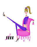 Chic Young Woman Trying On Shoes stock illustration