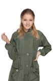 Chica joven adorable en una chaqueta Imagen de archivo