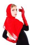 Chica joven adorable hermosa en rojo Foto de archivo libre de regalías