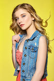 Chica joven atractiva con el pelo que fluye largo Imagen de archivo libre de regalías