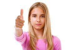 Chica joven atractiva que señala su finger Aislado Imagen de archivo libre de regalías