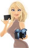 Chica joven bonita con el regalo Imágenes de archivo libres de regalías