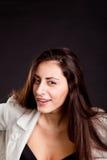 Chica joven bonita con la expresión curiosa de la cara Fotos de archivo libres de regalías