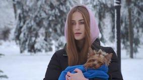 Chica joven bonita del retrato con el pelo largo cubierto con una capilla que sostiene un terrier de Yorkshire envuelto en una ma almacen de video