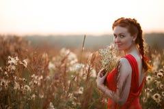 Chica joven bonita en un campo Imagenes de archivo