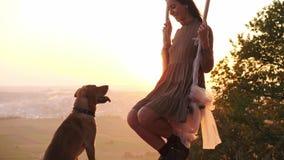 Chica joven bonita en un oscilación durante puesta del sol que sorprende almacen de video