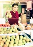 Chica joven bonita que elige la pera en el mercado Fotografía de archivo libre de regalías