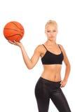 Chica joven con baloncesto Foto de archivo libre de regalías
