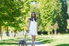 Chica joven con dos galgos en el parque Foto de archivo