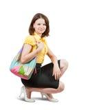 Chica joven con el bolso Foto de archivo