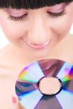 Chica joven con el disco Imagen de archivo