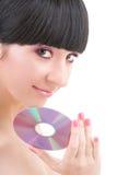 Chica joven con el disco Foto de archivo