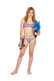 Chica joven con el equipo del tubo respirador Fotos de archivo