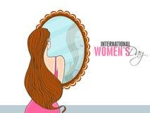 Chica joven con el espejo para la celebración del día de las mujeres internacionales Foto de archivo libre de regalías