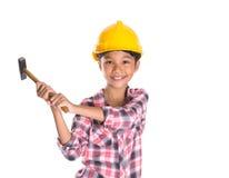 Chica joven con el martillo VI Fotografía de archivo