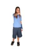 Chica joven con el molde del azul Fotos de archivo