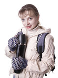 Chica joven con el morral aislado en blanco Fotografía de archivo