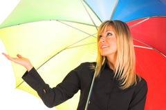 Chica joven con el paraguas Imágenes de archivo libres de regalías