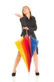 Chica joven con el paraguas Imagenes de archivo