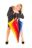 Chica joven con el paraguas Foto de archivo libre de regalías