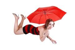 Chica joven con el paraguas. Imagen de archivo libre de regalías