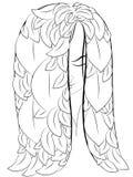 Chica joven con el pelo largo que escucha la música en los auriculares, blac libre illustration