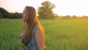 Chica joven con el pelo recto que camina en un campo verde en la puesta del sol Tiro medio metrajes