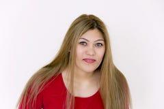 Chica joven con el pelo sano marrón largo Fotografía de archivo